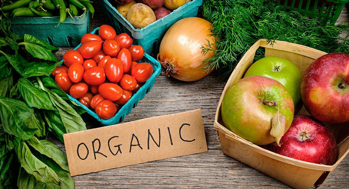 Produce Surrounding Sign That Reads Organic